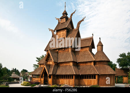 Full-sized replica of the Gol (Hallingdal) Stave Church, built in the mid 1200s in Gol, Norway. - Stock Photo