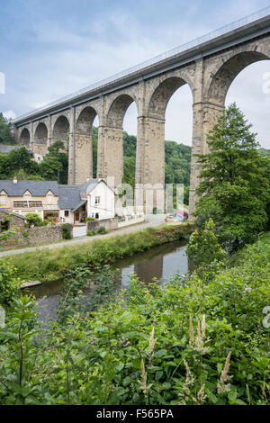 Portrait view of the viaduct at Dinan, Brittany, France, crossing the river Rance - Stock Photo