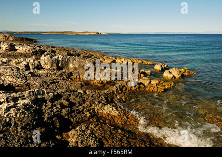 Wild and rocky coastline at Cape Kamenjak, Istria, Croatia - Stock Photo