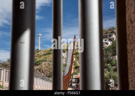 Nogales, Sonora Mexico - The border fence between the United States (left) and Mexico. - Stock Photo