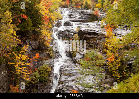Silver Cascade, a waterfall in Crawford Notch State Park, White Mountain National Forest, New Hampshire NH, New - Stock Photo