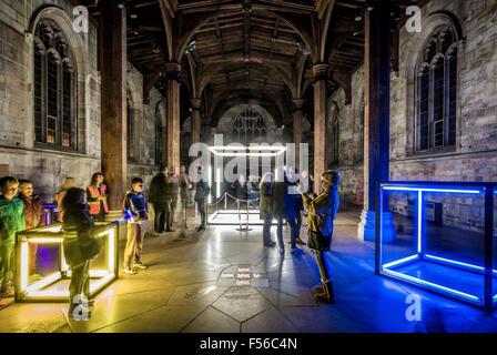York, UK. 28th Oct, 2015. Illuminating York public art display. 'Spark' by emerging graduate artists from York St - Stock Photo