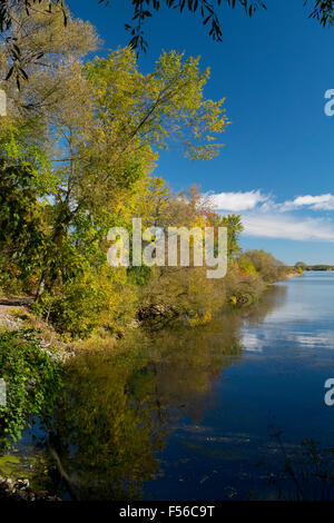 A scenic view along the Soulange Canal. - Stock Photo