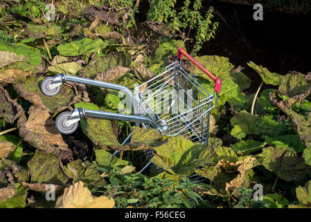 A supermarket trolley abandoned in the Water of Leith at Saughton, in Edinburgh. - Stock Photo