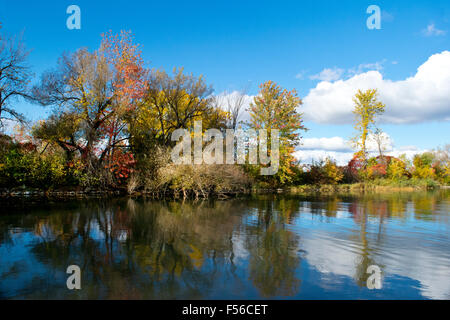 An autumn scene near the entrance to the Soulange Canal. - Stock Photo