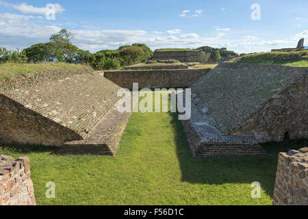 The Ball court at Monte Alban archaeological site, Oaxaca, Mexico. - Stock Photo