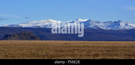 Panoramic view of South Iceland looking towards Mýrdalsjökull - Stock Photo