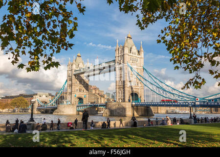 The iconic landmark, Tower Bridge over the River Thames, City of London, UK, a leading tourist attraction, part - Stock Photo