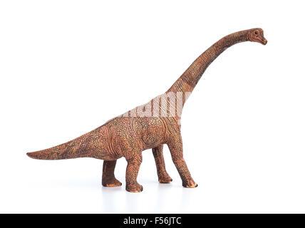 brachiosaurus toy on a white background - Stock Photo