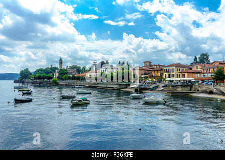 View of Ascona and harbor on Lake Maggiore in summer. - Stock Photo