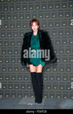 Seoul, South Korea. 28th Oct, 2015. Jae-bum Park, Chae-young Han, Girl's generation Yuri and Miss A Jia attend BALMAIN - Stock Photo