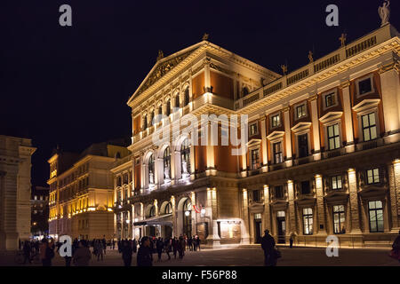 VIENNA, AUSTRIA - SEPTEMBER 26, 2015: tourists near Great Hall of Wiener Musikverein (Viennese Music Association), - Stock Photo