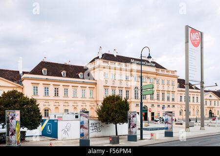VIENNA, AUSTRIA - SEPTEMBER 29, 2015: Museumsquartier (MQW) in Vienna city. Museumsquartier is about 60000 sqm large - Stock Photo