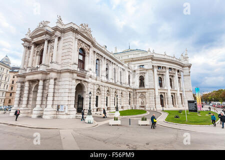 VIENNA, AUSTRIA - SEPTEMBER 29, 2015: people near Burgtheater Vienna (Imperial Court Theatre), Austria. It is the - Stock Photo