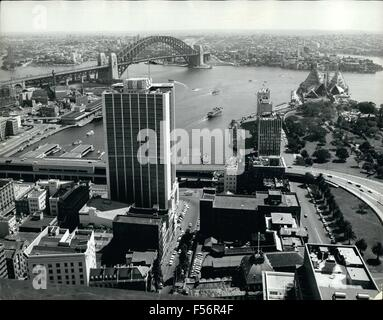 1972 - Harbour Bridge - Cahill Express Way in front of tall A.M.P. building right behind botanical garden Opera - Stock Photo