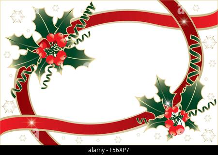 Christmas decoration with holly, green and red ribbons, golden snowflakes and vibrant stars,  isolated on white - Stock Photo