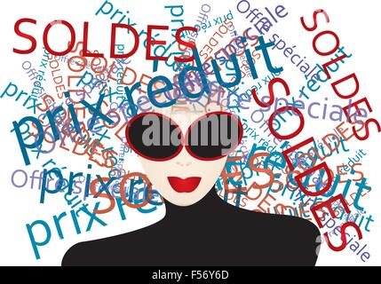 Woman thinks about  shopping - creative illustration with French words generated by a stylish woman - Stock Photo