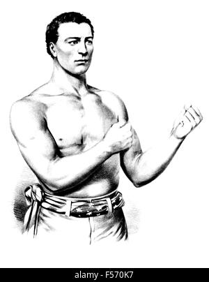 Vintage portrait print of American bare-knuckle boxer John C Heenan (1834 - 1873). Heenan, born in New York and - Stock Photo