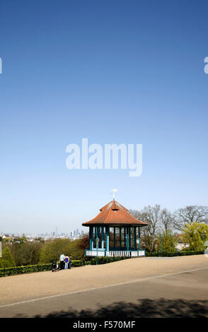 Skyline view of the City of London from the bandstand in Horniman Gardens, Forest Hill, London, UK - Stock Photo