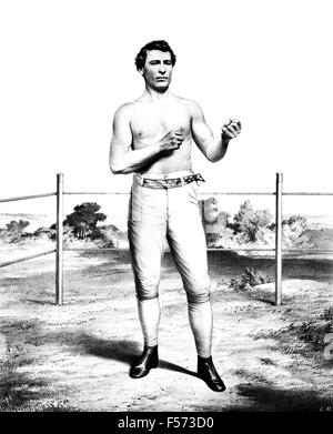 Vintage portrait print of American bare-knuckle boxer John C Heenan (1834 - 1873). Heenan, born in New York and - Stock Photo