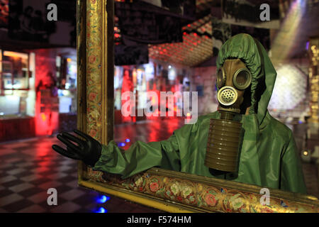 A scale model of a liquidator from the Chernobyl disaster exhibited in the Ukrainian National Chornobyl Museum. - Stock Photo