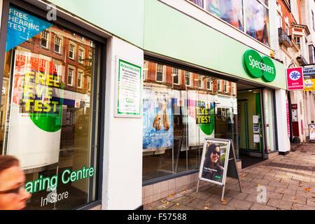 Specsavers opticians Shop store name sign building exterior facade entrance Nottingham City centre UK GB England - Stock Photo
