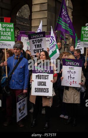 Edinburgh UK Oct 29 2015; Hundreds of Edinburgh Council workers gather outside the city chambers to protest further - Stock Photo