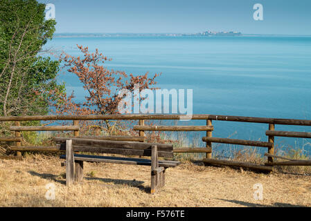 Italian landscape from Umbria with Trasimeno lake, Italy, Europe - Stock Photo