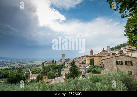 view over Assisi, Umbria, Italy - Stock Photo