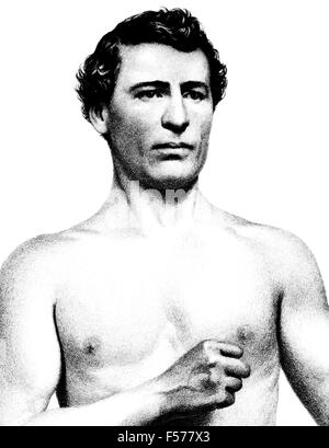 Vintage portrait of American bare-knuckle boxer John C Heenan (1834 - 1873). Heenan, born in New York and nicknamed - Stock Photo