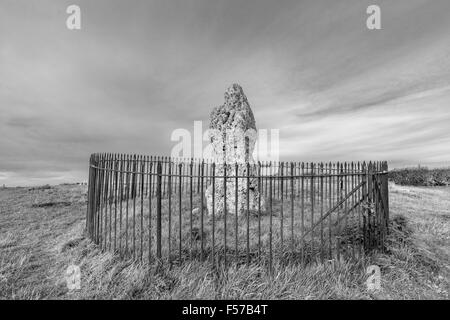 The King Stone, part of the Rollright Stones in monochrome, thought to be a Bronze Age grave marker, Oxfordshire, - Stock Photo