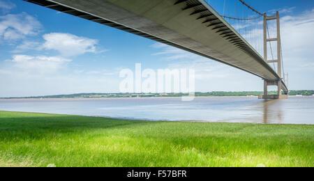 The Humber Suspension Bridge, Hull, United Kingdom. - Stock Photo