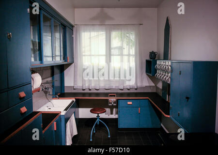 1960s style kitchen of the future in a back to the past house in Minneapolis MN - Stock Photo