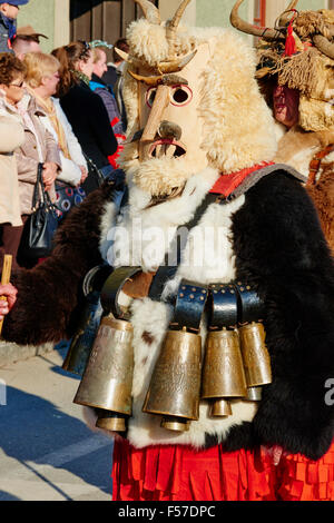 Bulgaria, Pernik Region, Dolna Sekirna town, carnival day, Kukeri procession, ferocious beasts with coats of fur - Stock Photo