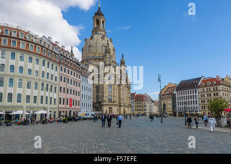 Neumarkt square and Dresden Frauenkirche (Church of Our Lady). Dresden is the capital of Saxony. - Stock Photo