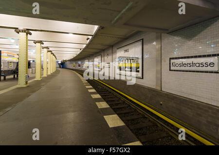 BERLIN, GERMANY - OCTOBER 13, 2015: Metro station Klosterstrasse. The Berlin U-Bahn is a rapid transit railway in - Stock Photo