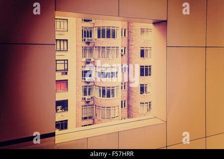 Retro grungy toned windows in window, old film grainy concept picture. - Stock Photo