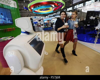 MOSCOW, RUSSIA. OCTOBER 29, 2015. People attend the Technology Show as part of the 2015 Open Innovations Forum at - Stock Photo