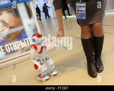 MOSCOW, RUSSIA. OCTOBER 29, 2015. A Nao Humanoid Robot on display at the Technology Show as part of the 2015 Open - Stock Photo