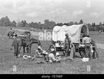 Ranch cowboys gather around a chuck wagon for lunch during a cattle drive in the Tusas Mountains of northern New - Stock Photo