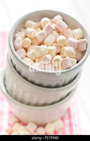 mini marshmallows in white bowl - Stock Photo