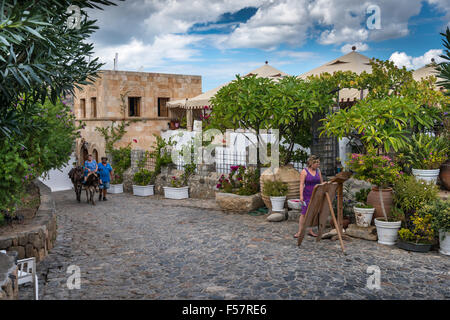The town of Lindos on the Greek island of Rhodes. - Stock Photo