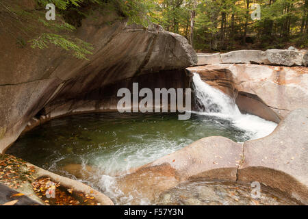 The Basin, a geological granite feature with waterfall, Franconia Notch state park, New Hampshire USA - Stock Photo