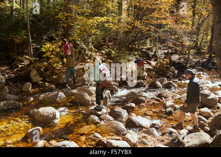 Tourists crossing a stream on the trail to Greeley Ponds, Kancamagus highway, White Mountain National Forest, New - Stock Photo