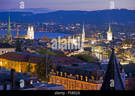 A view over beautiful Zurich at night - Stock Photo
