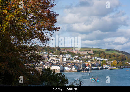 Pretty view across the River Dart towards historic Dartmouth and the Royal Naval College on a sunny autumn day - Stock Photo