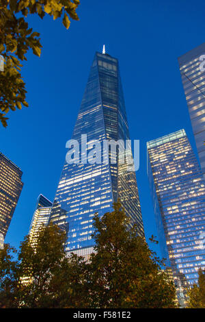 One World Trade Center (freedom tower) at night , Lower Manhattan, new York City, United states of America. - Stock Photo