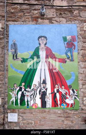 Mugnano, village of the painted walls, fresco on the wall by Valeria Bucefari, Umbria, Italy - Stock Photo