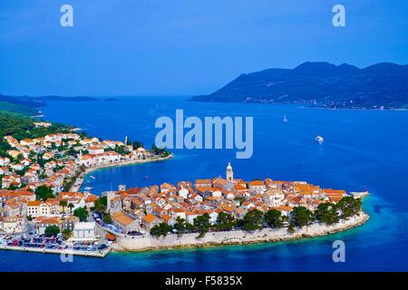 Croatia, Dalmatia, Korcula island, Korcula city, aerial view - Stock Photo