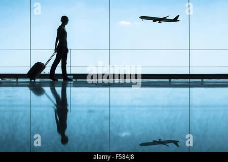 travel concept, people in the airport - Stock Photo